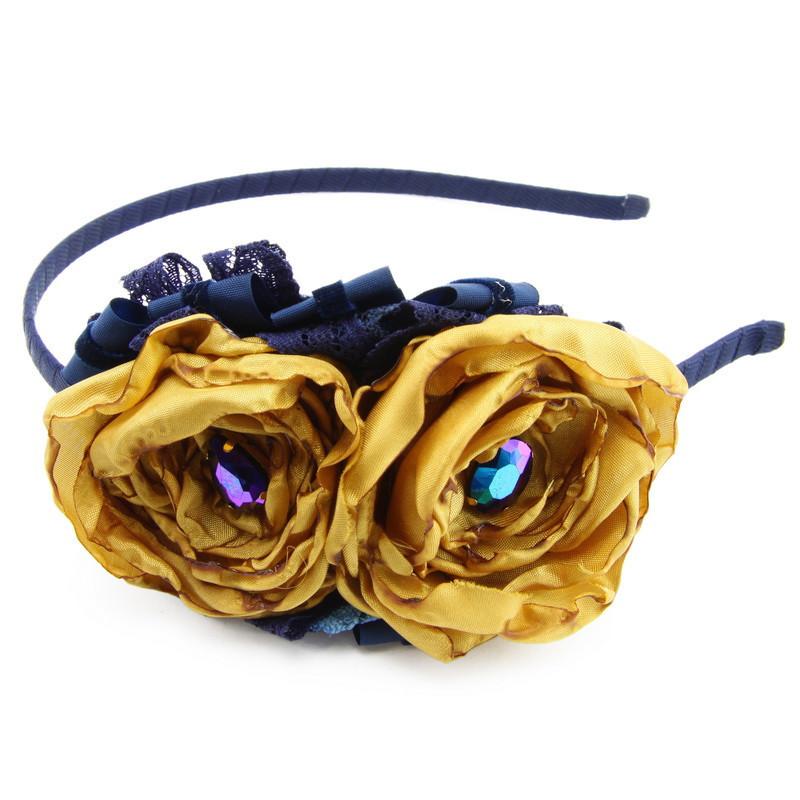 Matu stīpiņa (Tumši zila ar zeltainiem ziediņiem)
