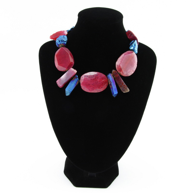 Necklace (Pink agate, blue...