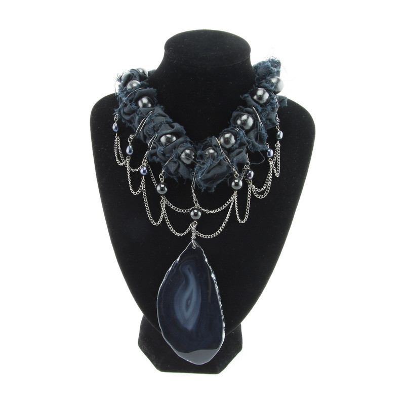 Necklace (Black agate,...
