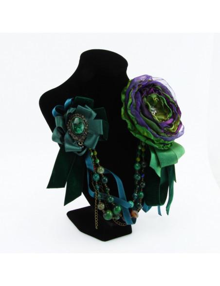 Brooch (green flower, dark...
