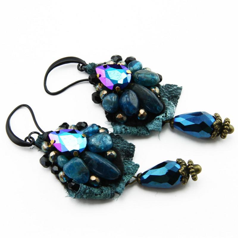 Earrings (Blue apatite,...