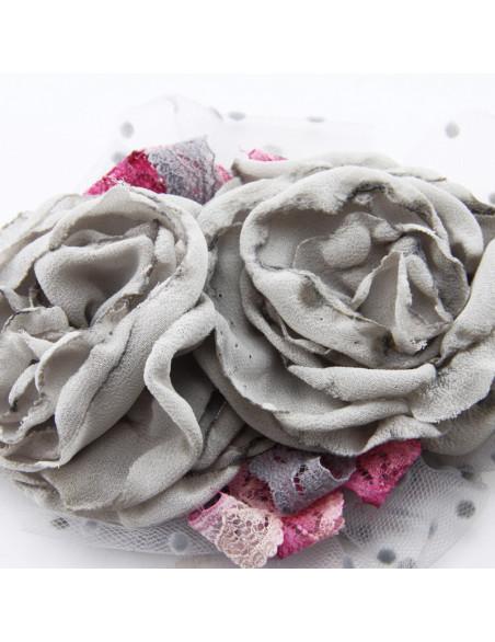 Brooch (Gray flowers, gray...