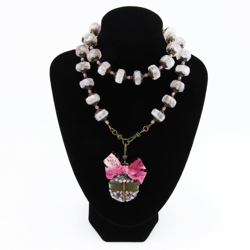 Necklace (pink quartz in...