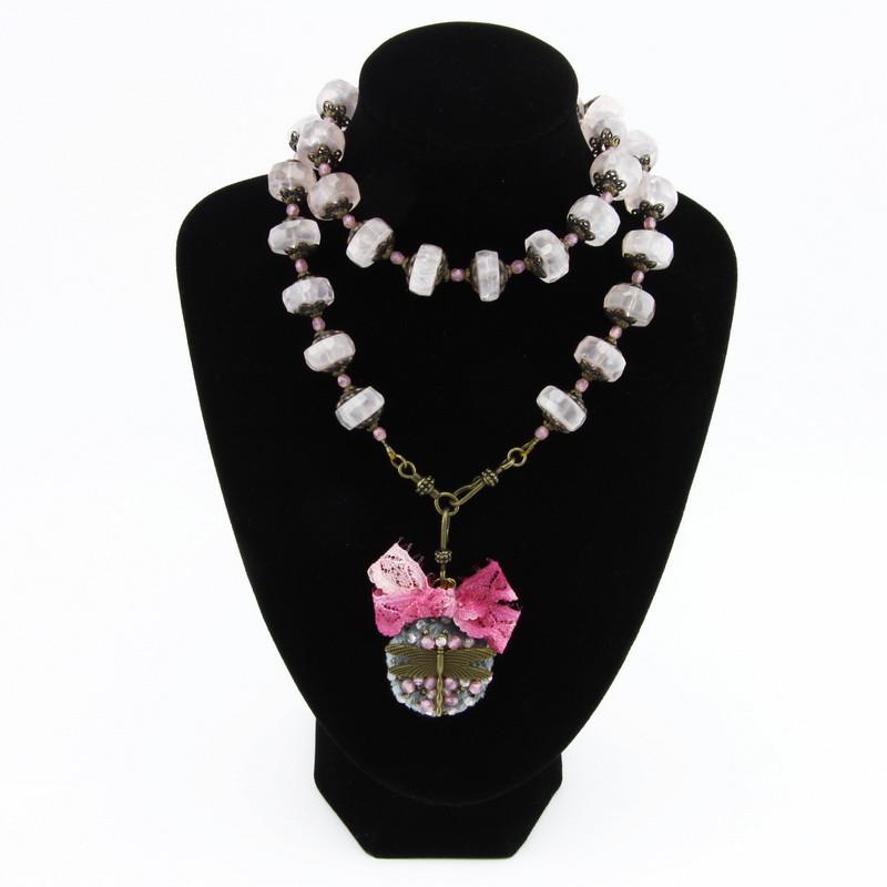 Necklace (pink quartz,...