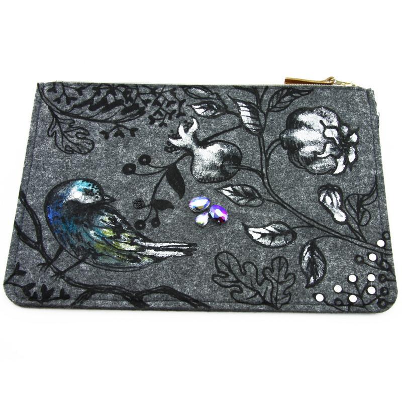 Handbag (Dark gray felt,...