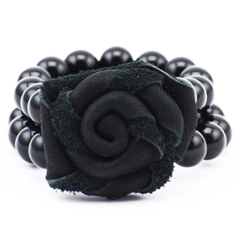 Bracelet (agate, black rose)