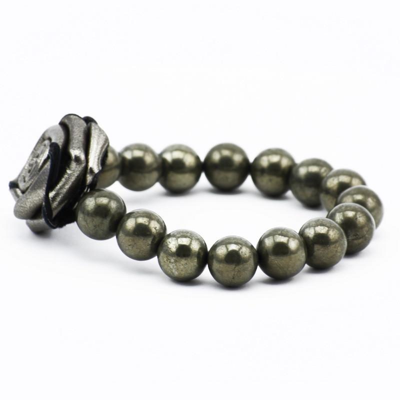 Bracelet (pyrite, silver rose)