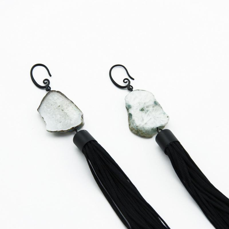 Earings (Gray-brown agate...