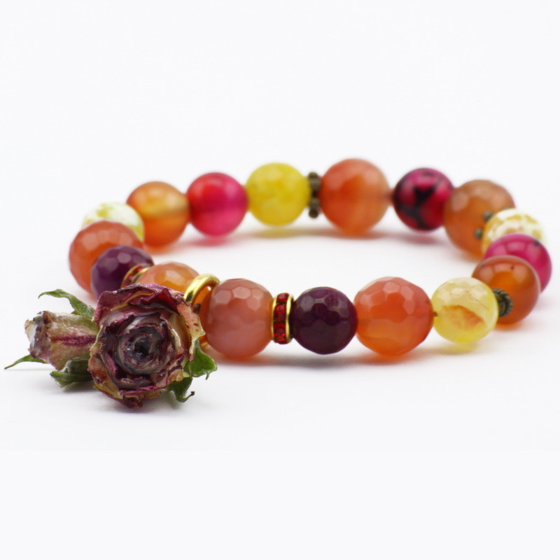 Orange agate bracelet with...
