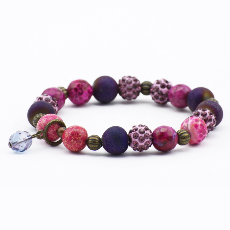 Purple and pink agate bracelet