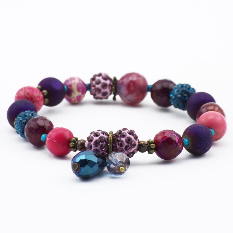 Violet and pink agate bracelet