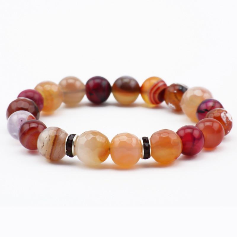 Orange and pink agate bracelet