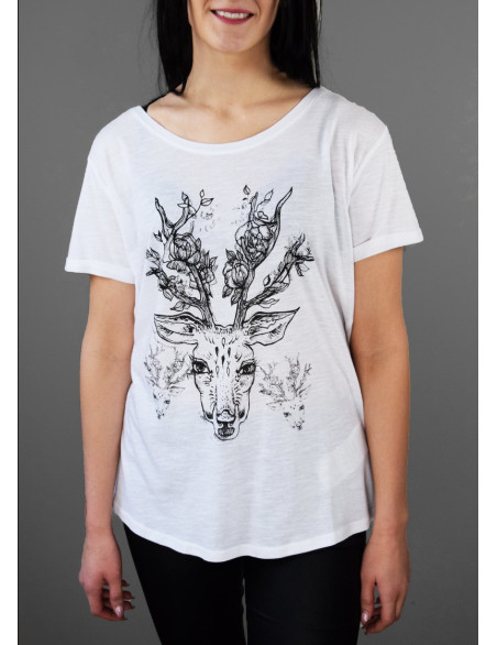 "T-shirt ""Deer with flowers"""