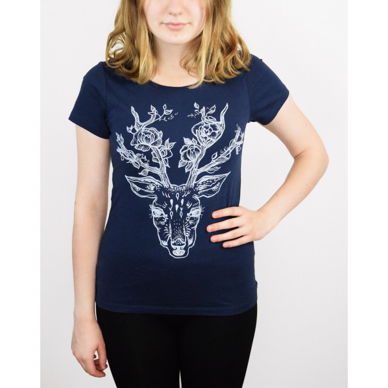 T-SHIRT ''DEER WITH FLOWERS""
