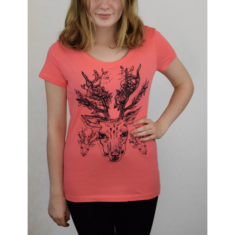 """T-SHIRT ''DEER WITH FLOWERS"""""""