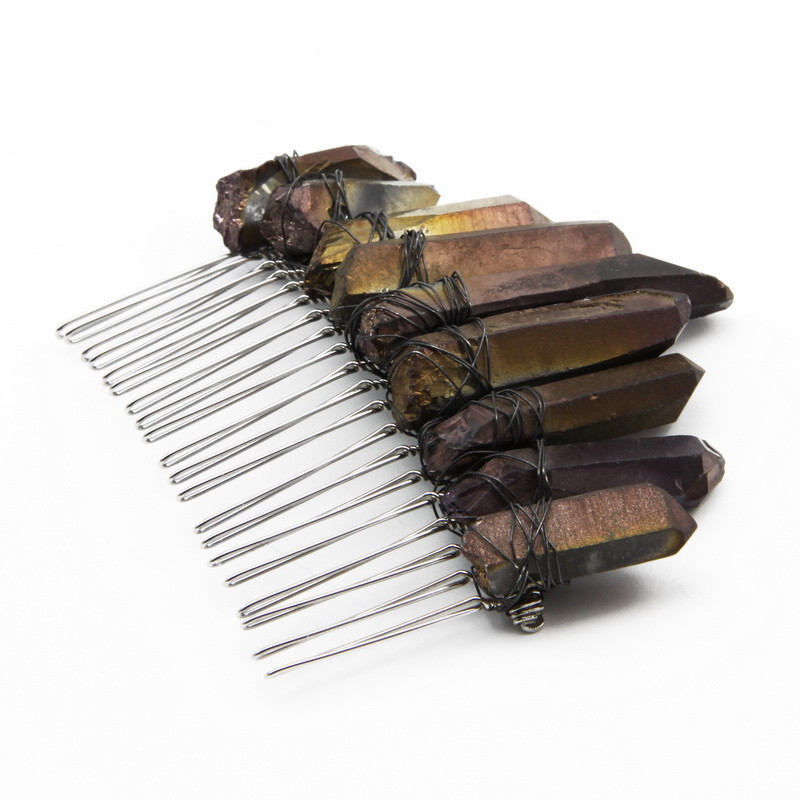 Silver hair comb with brown...