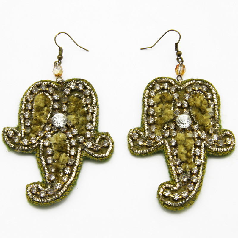 Earrings with Green Felt...