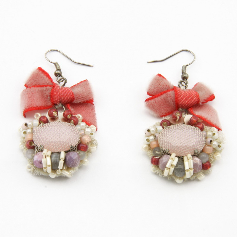 Red Earrings with White...