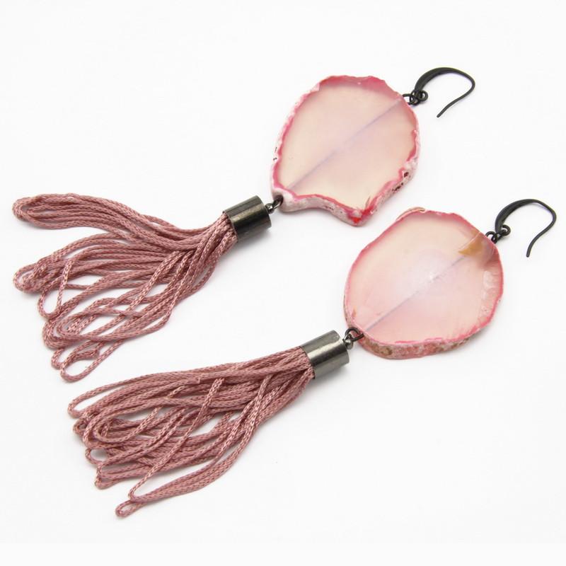 Pink Agate Druse Earrings...
