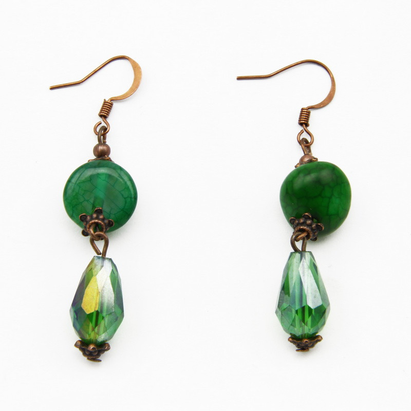 Green Agate Earrings with...