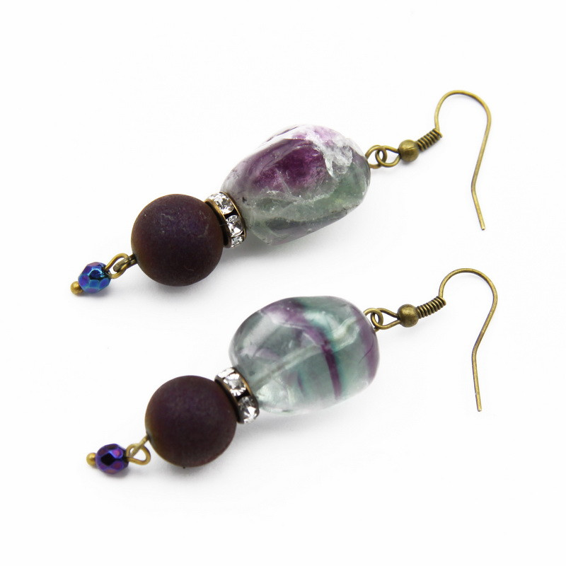 Earrings with Fluorite and...