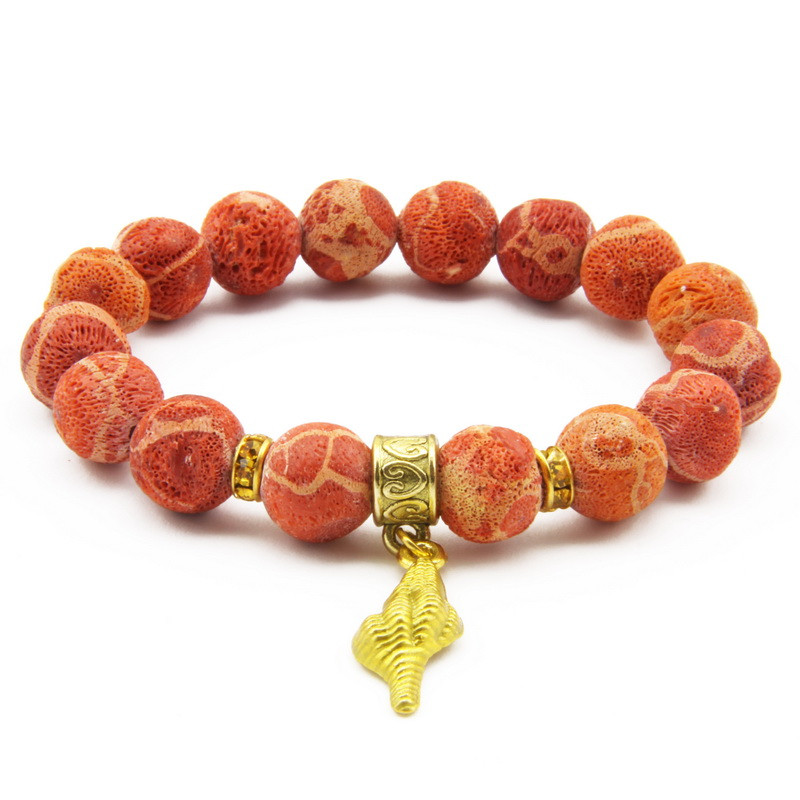 Elastic Coral Bracelet with...