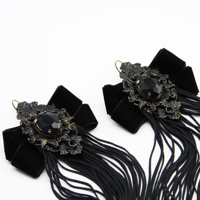 Black Tassel Earrings with...