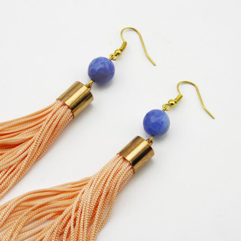 Blue Agate Tassel Earrings