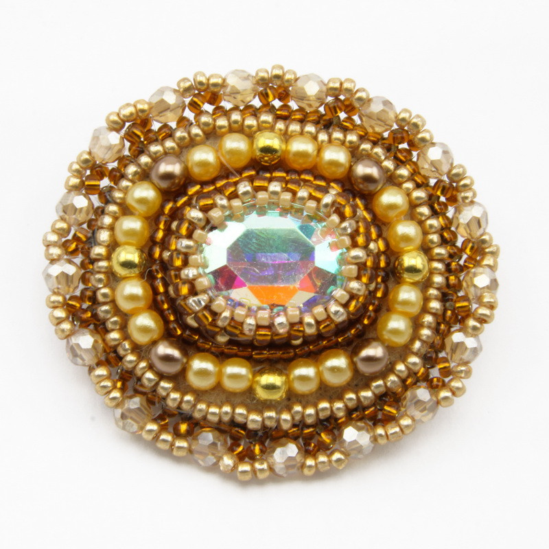 Bead And Czech Crystal Brooch