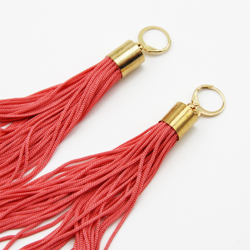 Coral Color Tassel Earrings