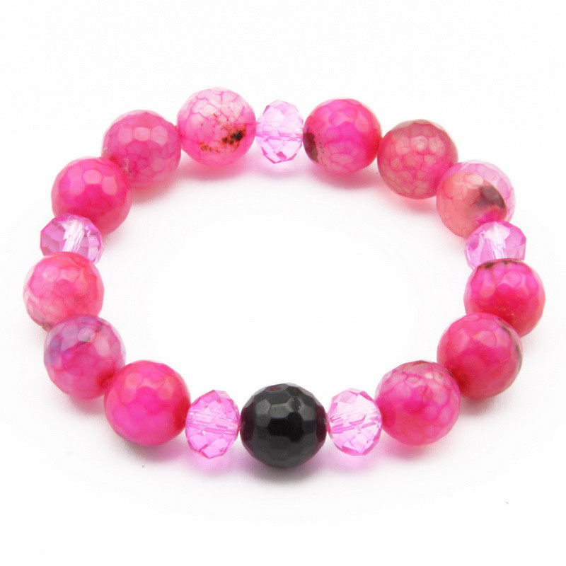 Pink Agate and Glass Bead...