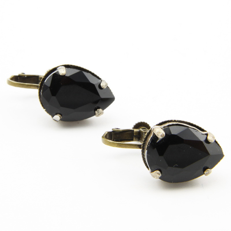 Black Glass Crystal Clip...
