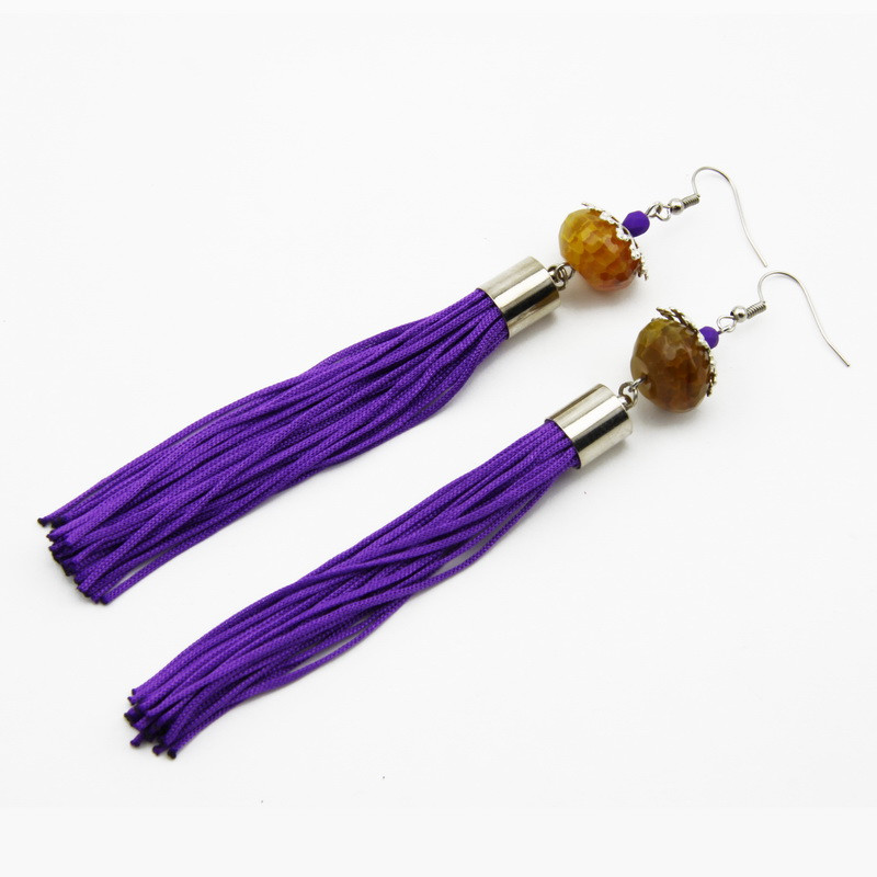 Purple Earrings with Orange...
