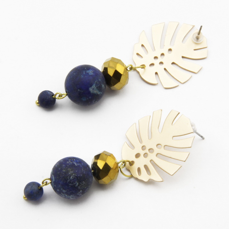 Earrings with Lazurite with...