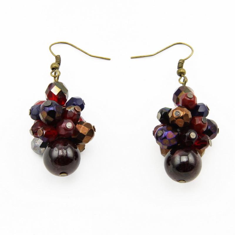 Garnet Earrings with Czech...