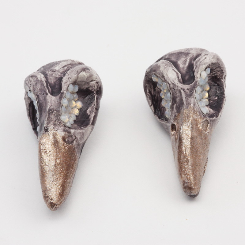 raven skull earrings with...