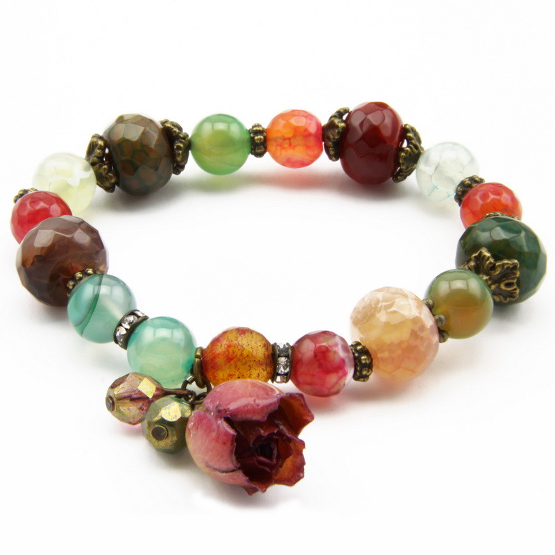Agate Bracelet with Czech...