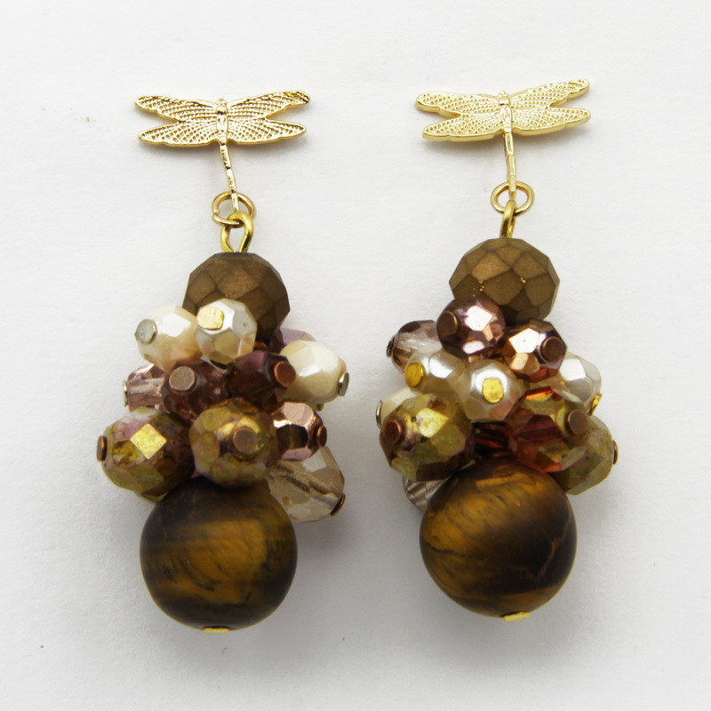 Earrings with Tiger Eye and...