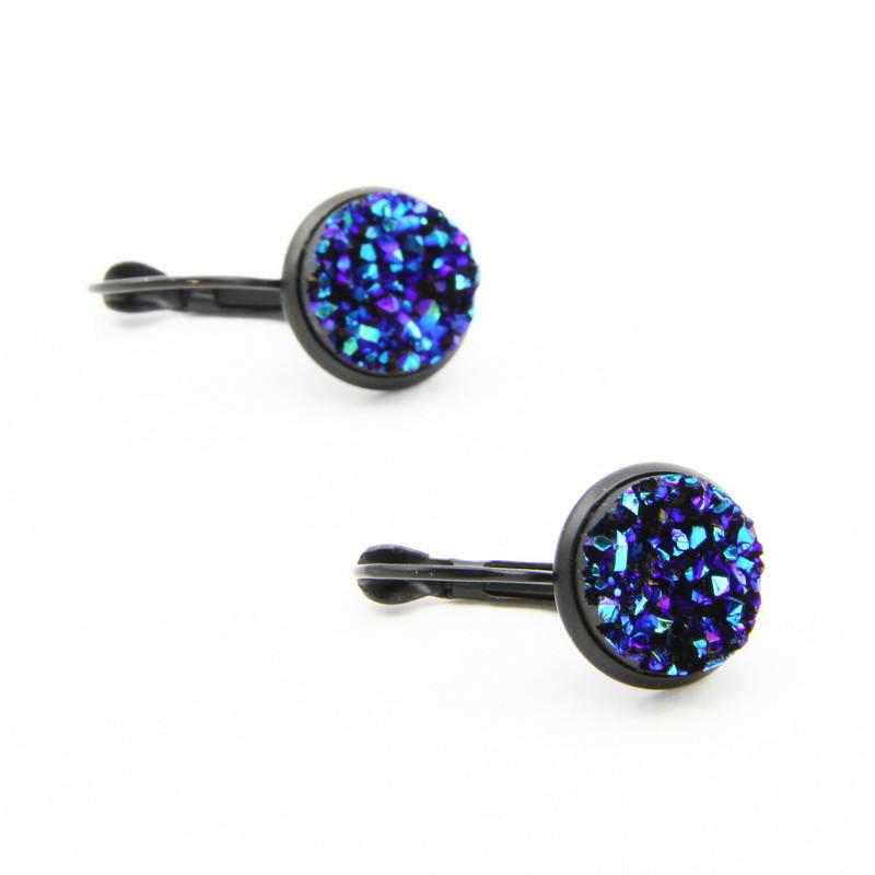 Dark Blue Druse Earrings...