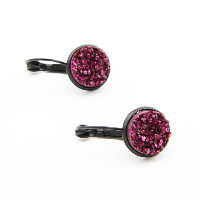 Dark Pink Druse Earrings...