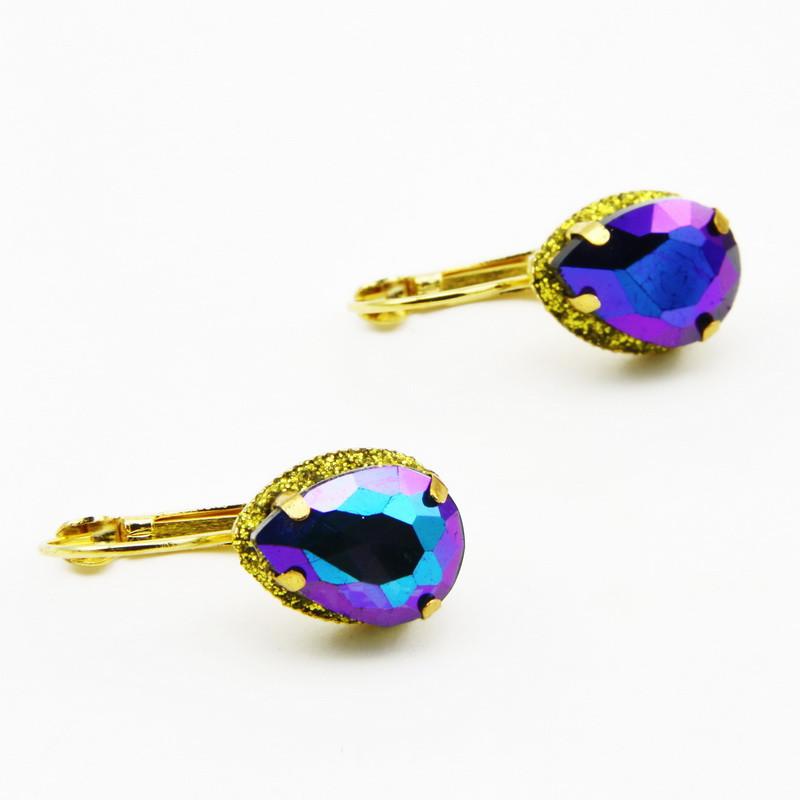 Blue glass droplet earrings...
