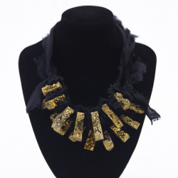 Black Linen Necklace with...