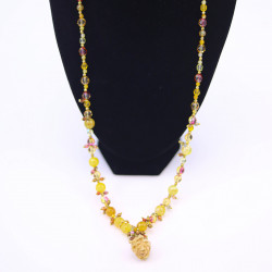 Yellow Agate Necklace with...