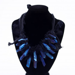Linen Necklace with Blue...