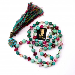 Green Agate Necklace with...