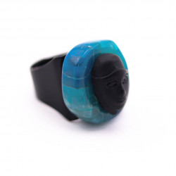Black Ring with Blue Agate...