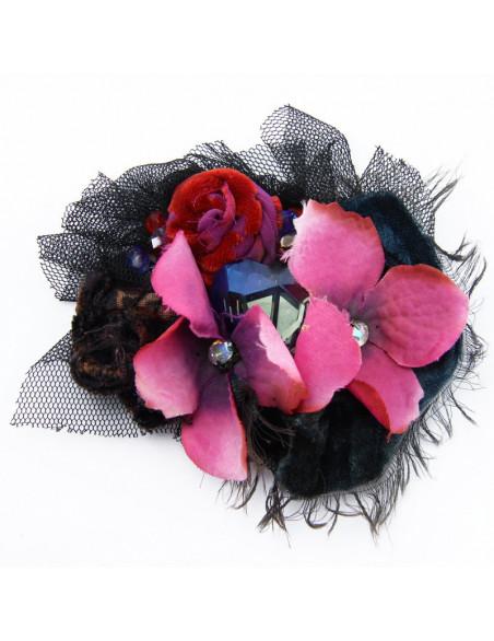 Broša (Rozā hortenzijas ziediņi)