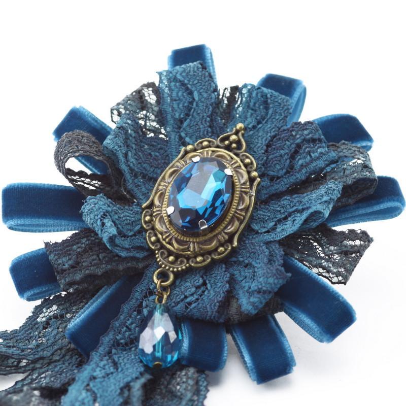 Broša (Zila satīna un mežģīņu zieds)