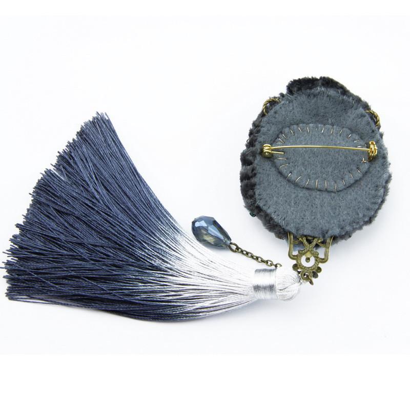Broša (Ar bārkstīm, labradorīts, ahāts, upes pērles)
