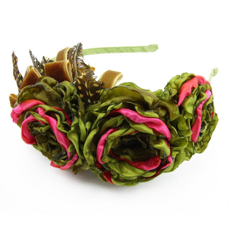 Matu stīpiņa (Ziediņi no rozā un zaļām ziedlapiņām)